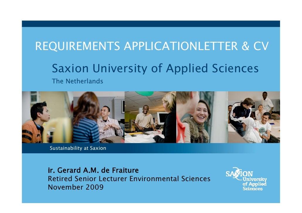 Applicationletter & CV