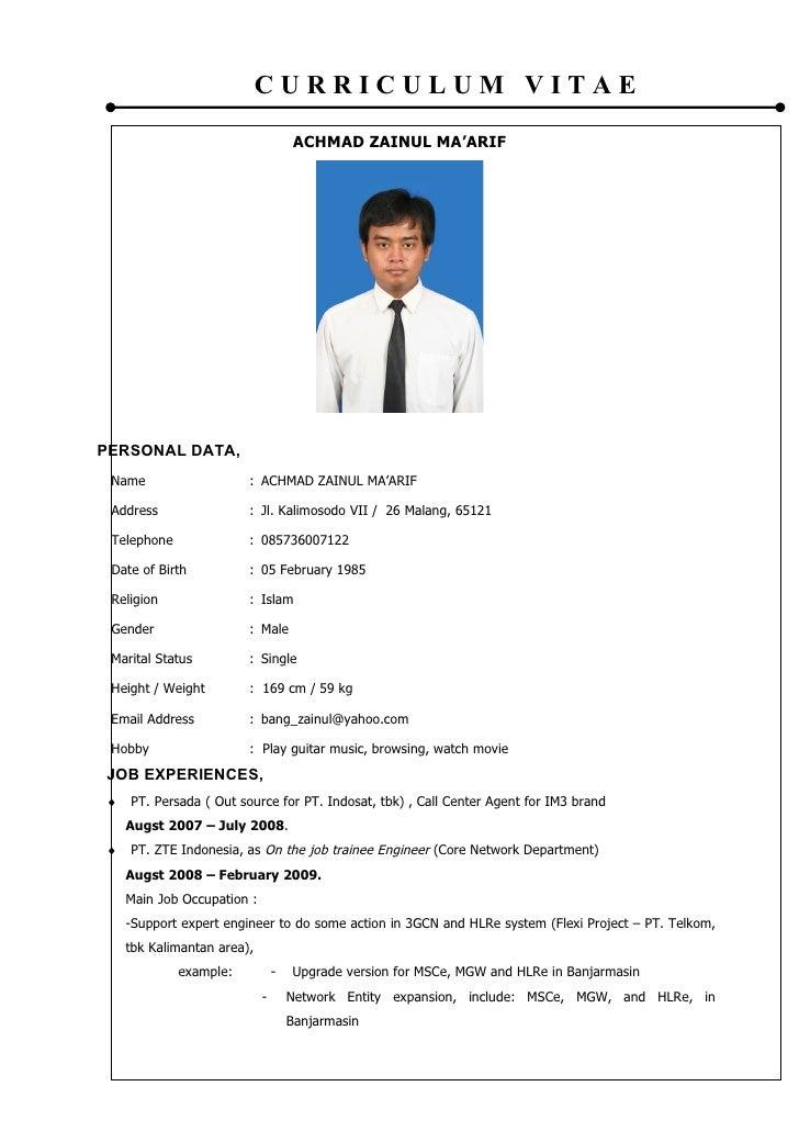 application letter cv