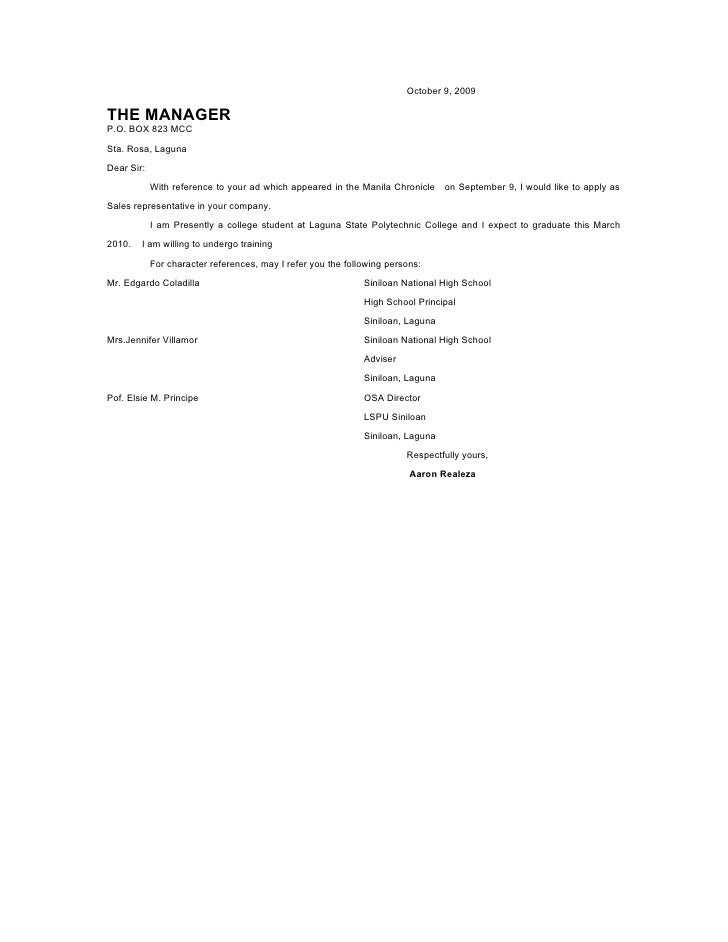 Application Letter (Modified Style)