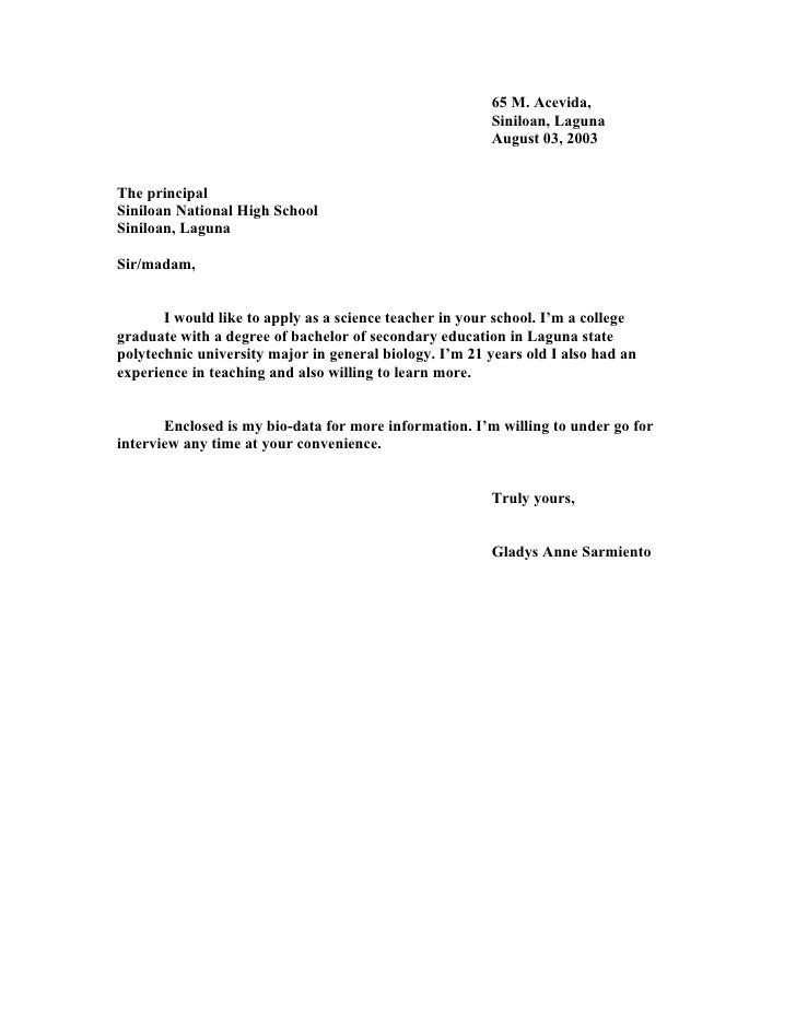 application letter for high school teacher in the philippines