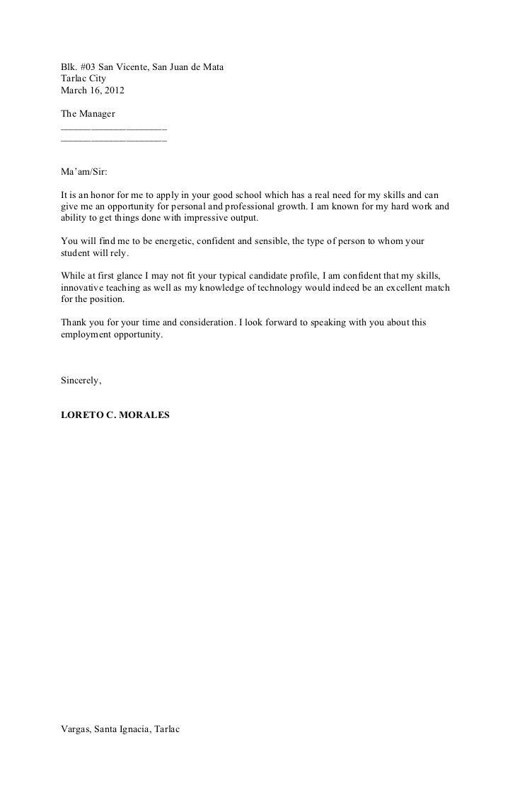 Sample Cover Letter ...