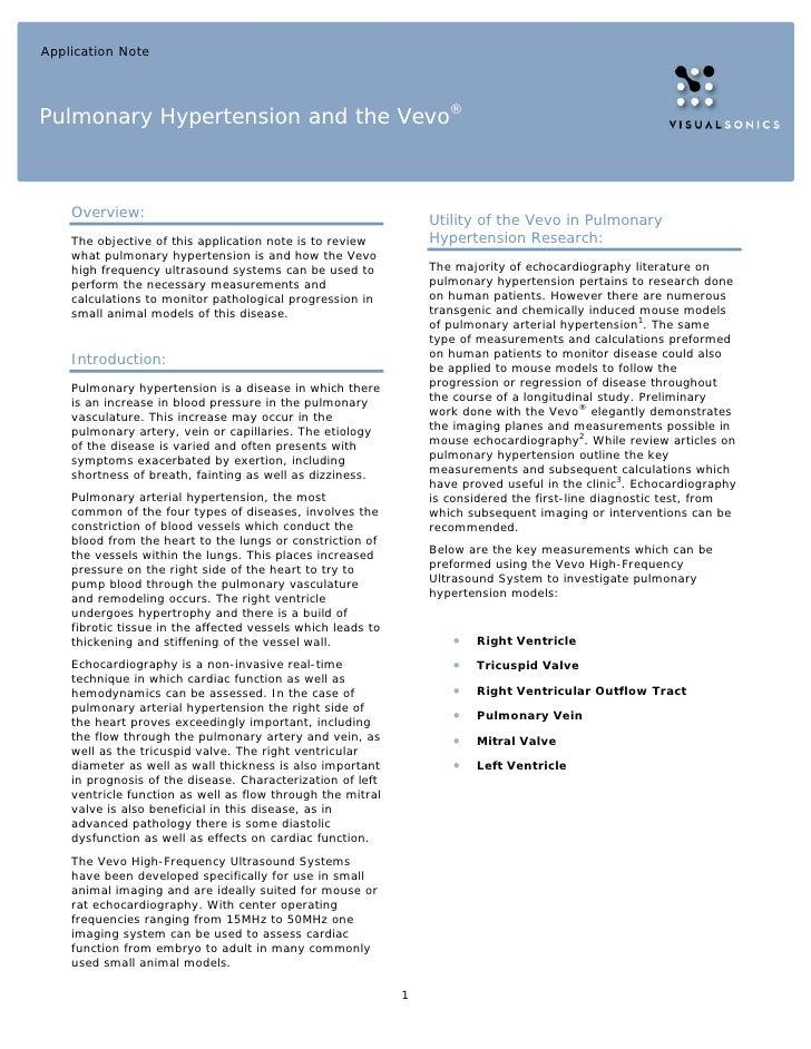 Application NotePulmonary Hypertension and the Vevo®    Overview:                                                         ...