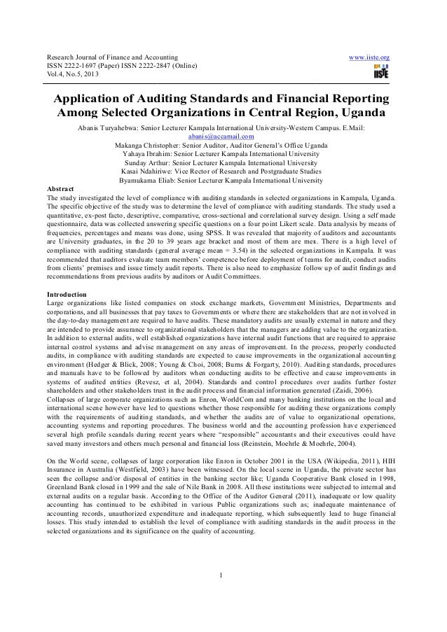 Research Journal of Finance and AccountingISSN 2222-1697 (Paper) ISSN 2222-2847 (OnlineVol.4, No.5, 2013Application of Aud...