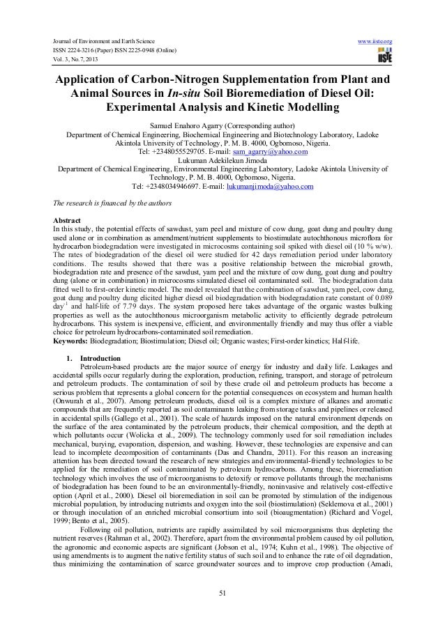 Application of carbon nitrogen supplementation from plant and animal sources in in-situ soil bioremediation of diesel oil- experimental analysis and kinetic modelling