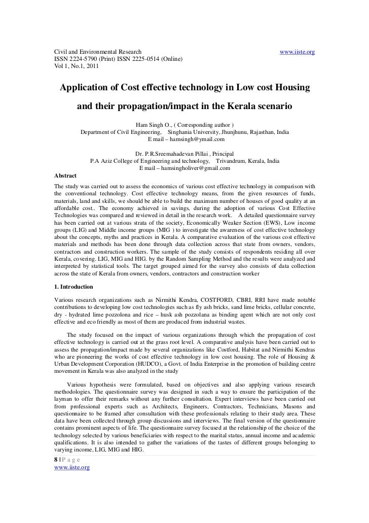 Application of cost effective technology in low cost housing and their propagation impact in the kerala scenario