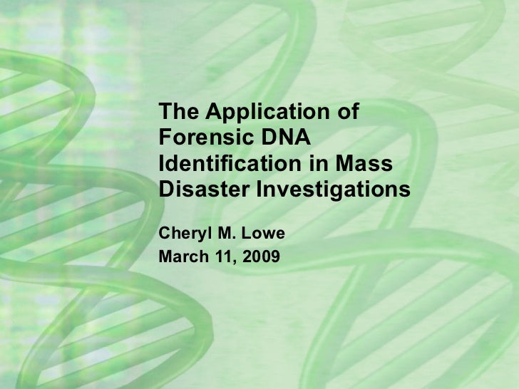 The Application of Forensic DNA Identification in Mass Disaster Investigations Cheryl M. Lowe March 11, 2009