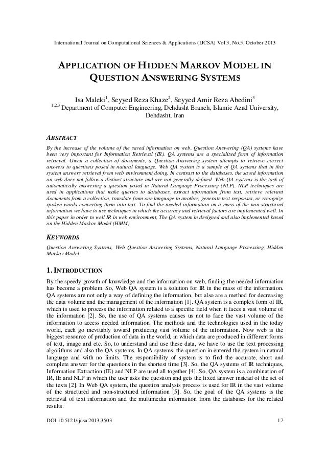 Application of hidden markov model in question answering systems