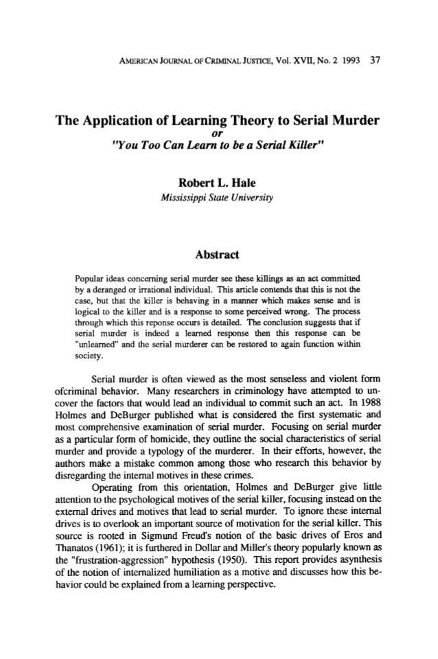 """AMERICAN JOURNALOFCRIMINAL JUSTICE,Vol. XVII, No. 2 1993  37  The Application of Learning Theory to Serial Murder or """"You ..."""