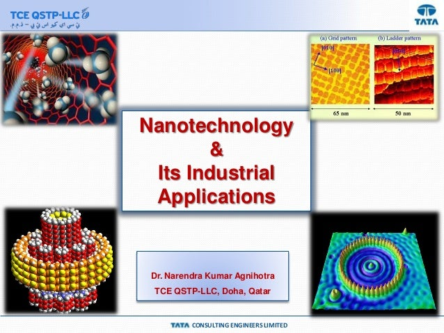 Nanotechnology & Its Industrial Applications  Dr. Narendra Kumar Agnihotra TCE QSTP-LLC, Doha, Qatar  CONSULTING ENGINEERS...
