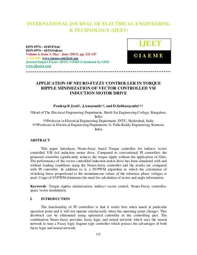 Application of neuro fuzzy controller in torque ripple minimization of vec