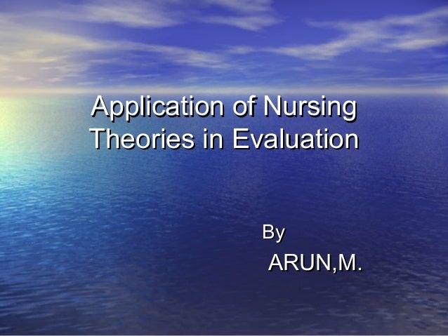 Application of NursingApplication of NursingTheories in EvaluationTheories in EvaluationByByARUN,M.ARUN,M.