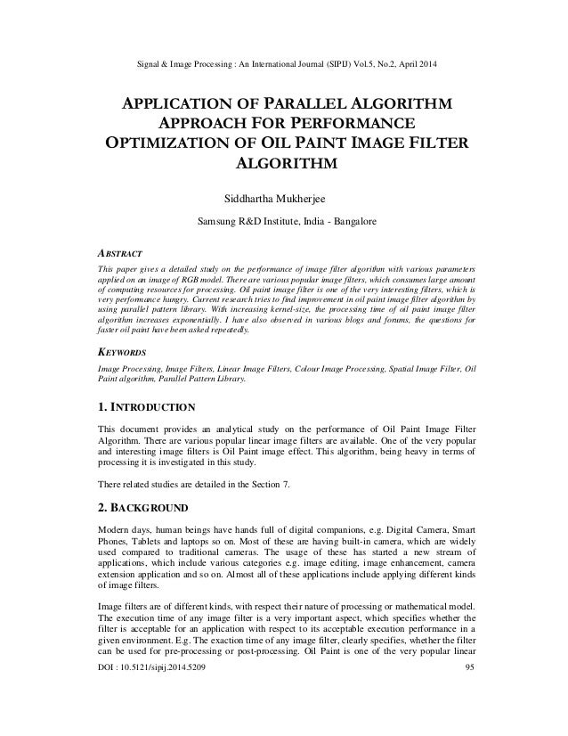 Application of parallel algorithm approach for performance optimization of oil paint image filter algorithm