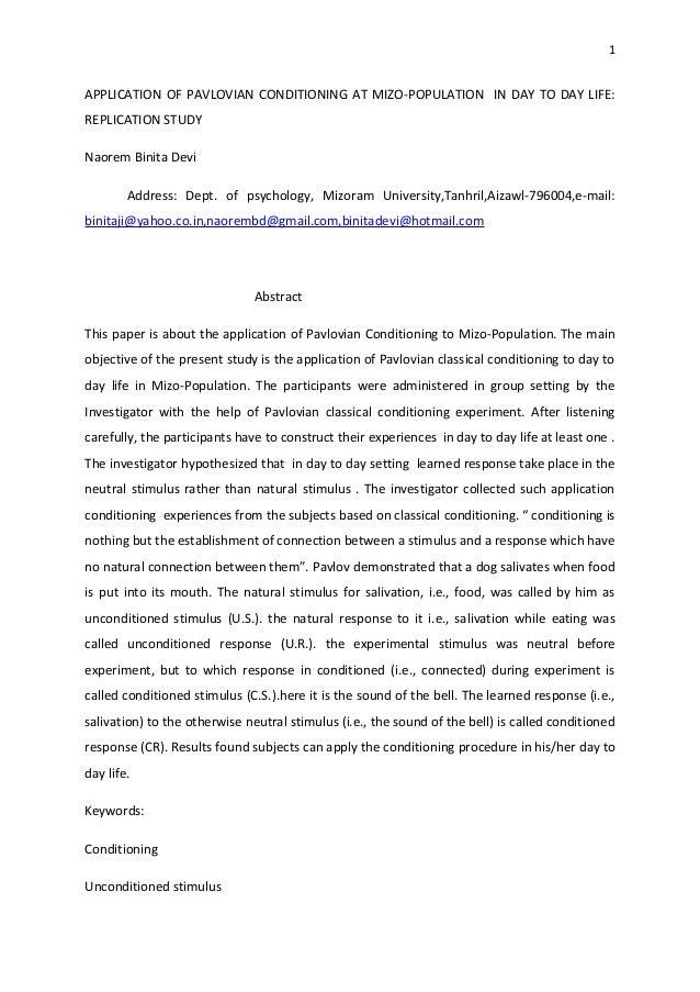 Application of pavlovian conditioningto mizo