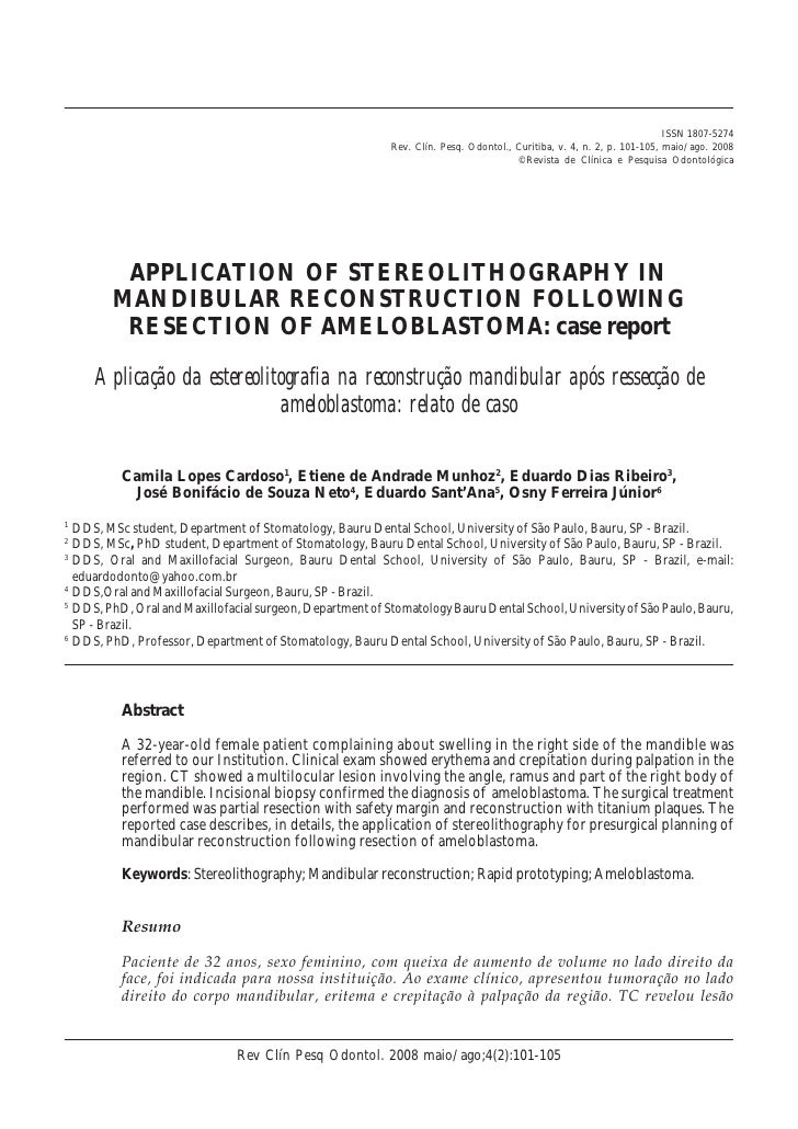Application of stereolithography in mandibular reconstruction following  resection of ameloblastoma case report