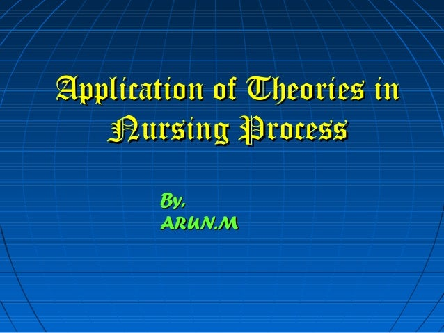 Application of Theories inApplication of Theories inNursing ProcessNursing ProcessBy,By,ARUN.MARUN.M