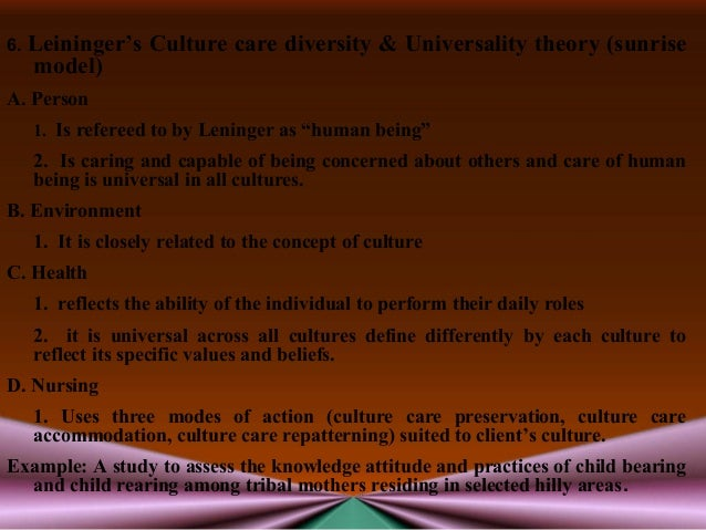 leiningers theory transcultural ( ) cont through interactions with patients and conversations with peers leininger identified two major missing dimensions in nursing, namely knowledge of diverse cultures and the meaning and practices of care in diverse cultures (leininger, 2008, para 4.