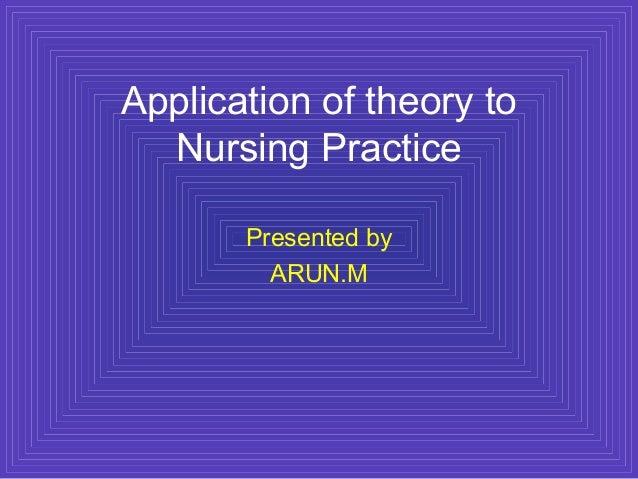Application of theory toNursing PracticePresented byARUN.M