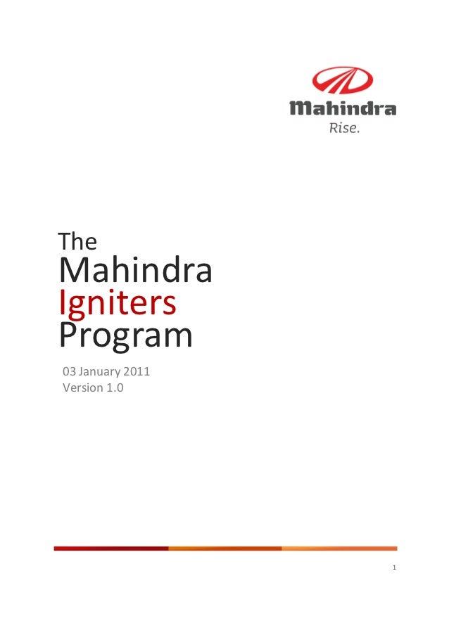 TheMahindraIgnitersProgram03 January2011Version1.0                  1