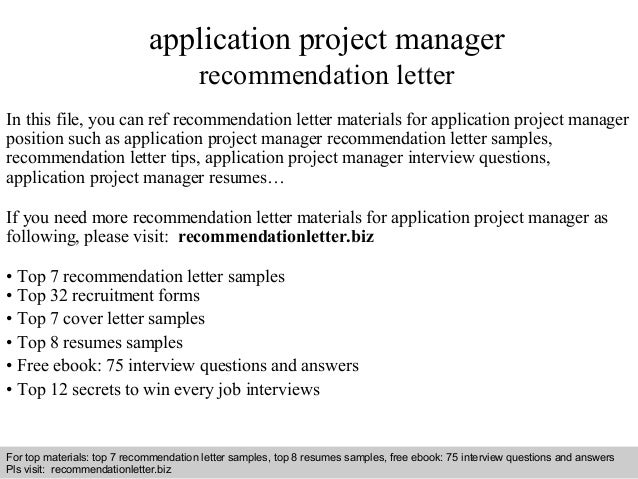 application project manager recommendation letterinterview questions and answers –      pdf and ppt file application project manager recommendation