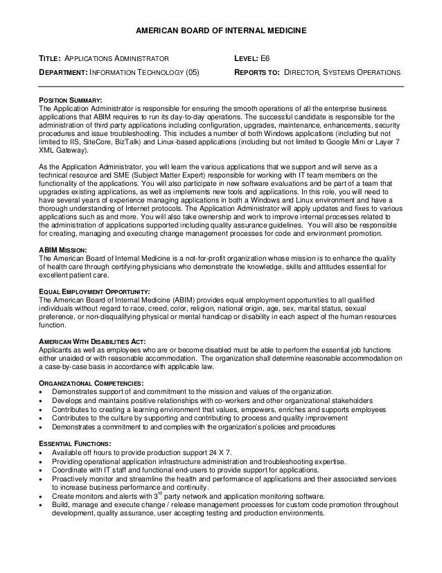 Applications administrator - American Board of Internal Medicine