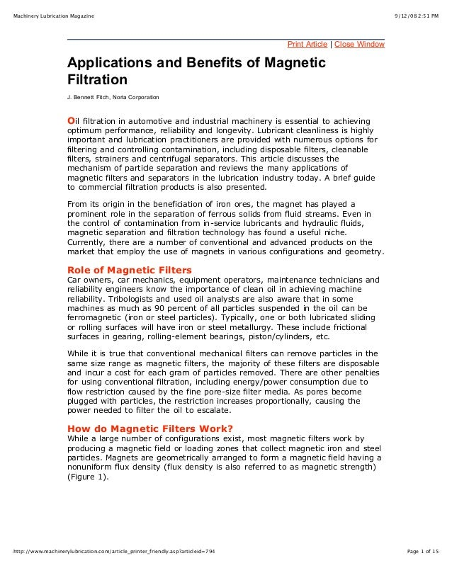 Applications & benefits of magnetic filtration