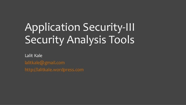 Application Security Tools
