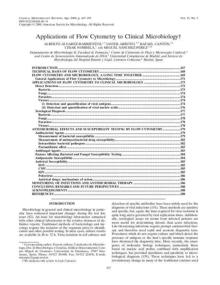 CLINICAL MICROBIOLOGY REVIEWS, Apr. 2000, p. 167–195                                                                      ...