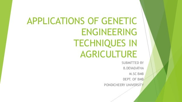 APPLICATIONS OF GENETIC ENGINEERING TECHNIQUES IN AGRICULTURE SUBMITTED BY B.DEVADATHA M.SC BMB DEPT. OF BMB PONDICHEERY U...