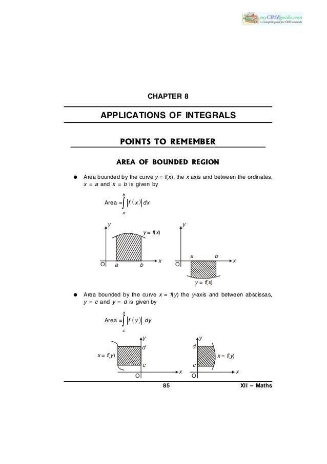 85 XII – Maths CHAPTER 8 APPLICATIONS OF INTEGRALS POINTS TO REMEMBER AREA OF BOUNDED REGION  Area bounded by the curve y...