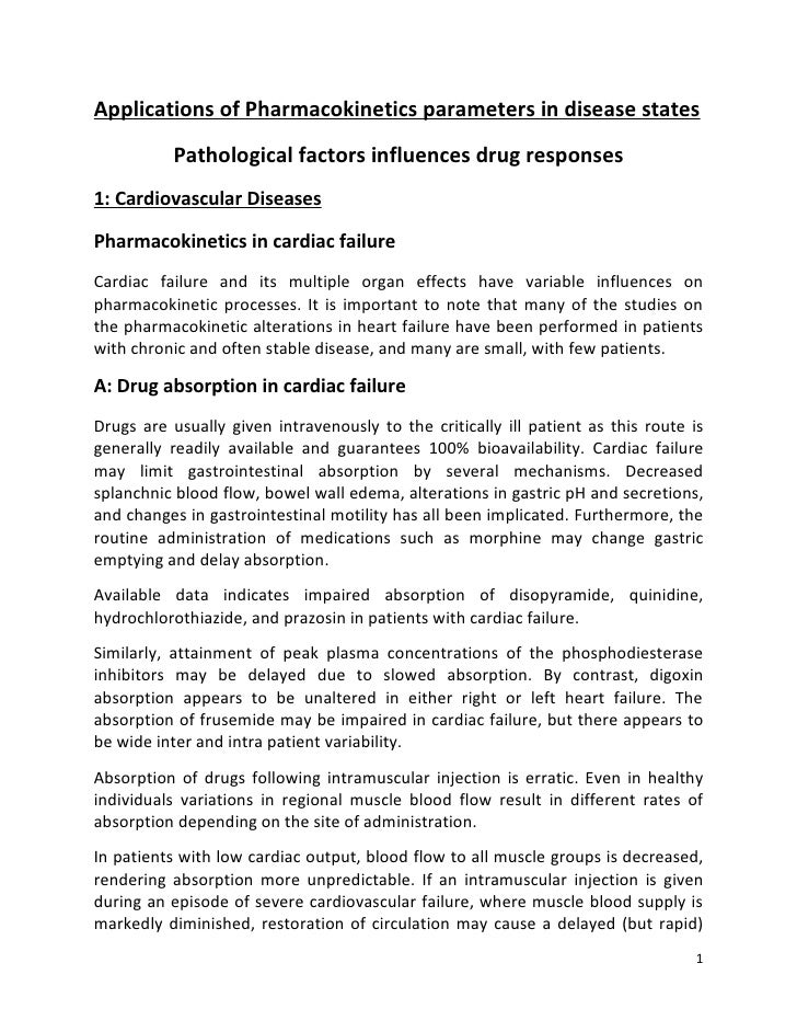 Applications of Pharmacokinetics parameters in disease states          Pathological factors influences drug responses1: Ca...