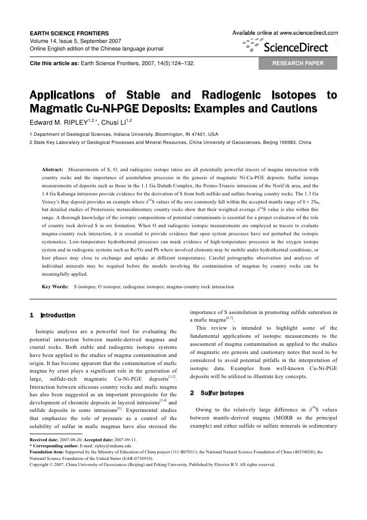 Applications of stable and radiogenic isotopes to magmatic cu ni-pge deposits  examples and cautions