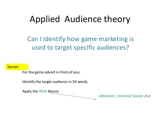 Applied Audience theory Can I Identify how game marketing is used to target specific audiences? Starter: For the game adve...