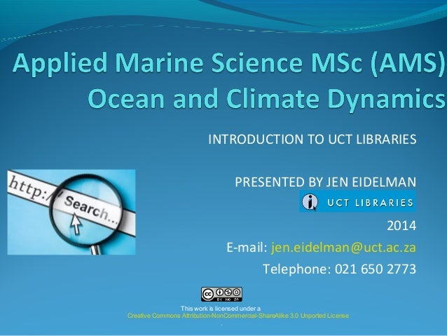 Applied marine science 2014 University of Cape Town Library Workshop