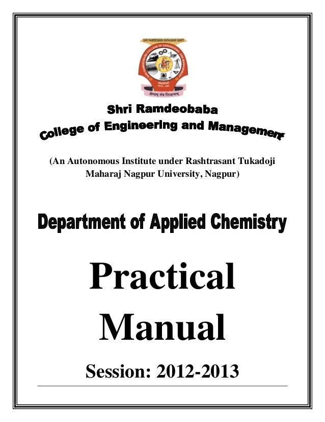 (An Autonomous Institute under Rashtrasant Tukadoji Maharaj Nagpur University, Nagpur)  Practical Manual Session: 2012-201...