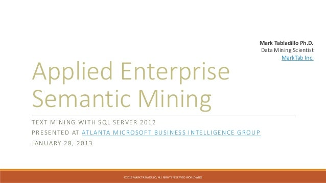 Applied enterprise semantic mining