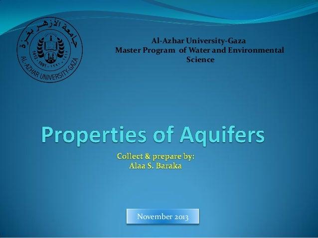 Al-Azhar University-Gaza Master Program of Water and Environmental Science  November 2013