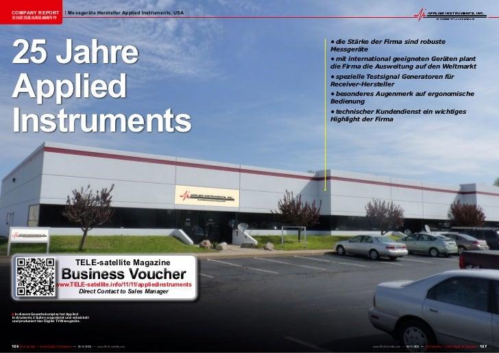 COMPANY REPORT                           Messgeräte Hersteller Applied Instruments, USA该独家报道由高级编辑所作25 Jahre               ...