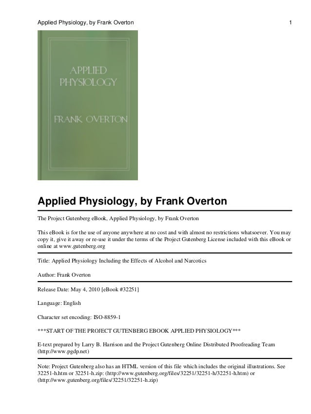 Applied Physiology, by Frank Overton The Project Gutenberg eBook, Applied Physiology, by Frank Overton This eBook is for t...