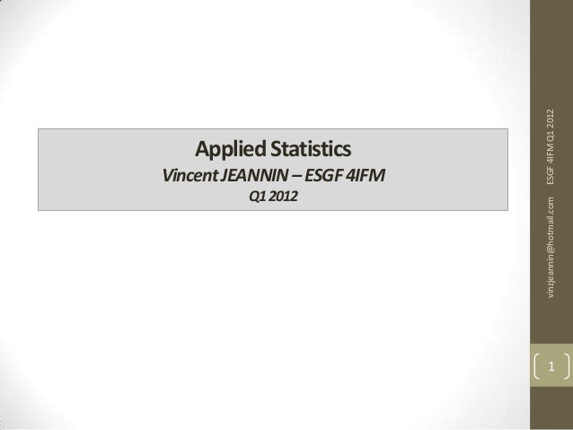 Applied Statistics IV