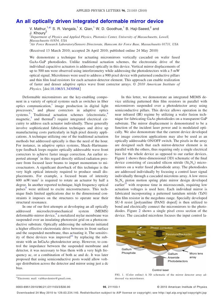 APPLIED PHYSICS LETTERS 96, 211103 2010   An all optically driven integrated deformable mirror device              V. Math...