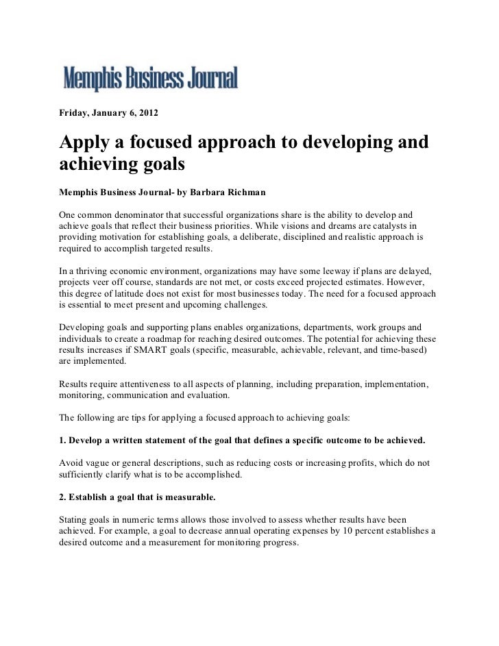 Apply A Focused Approach To Developing And Achieving Goals.1.6.12