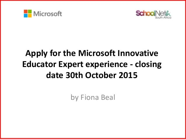 Apply for the Microsoft MIEE program 2015