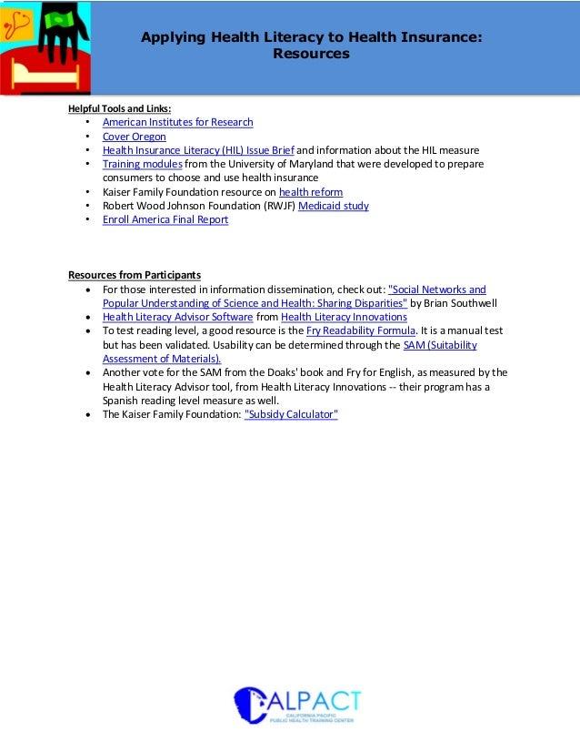 CALPACT Webinar: Applying Health Literacy to Health Insurance - Resources