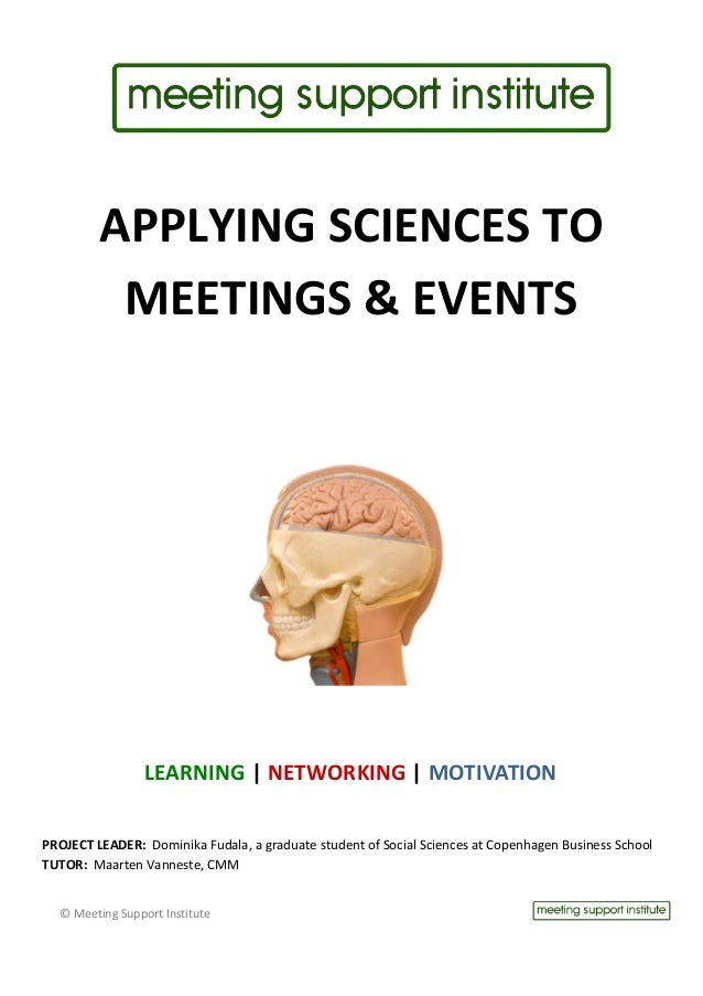 APPLYING	  SCIENCES	  TO	                                 MEETINGS	  &	  EVENTS	           ...