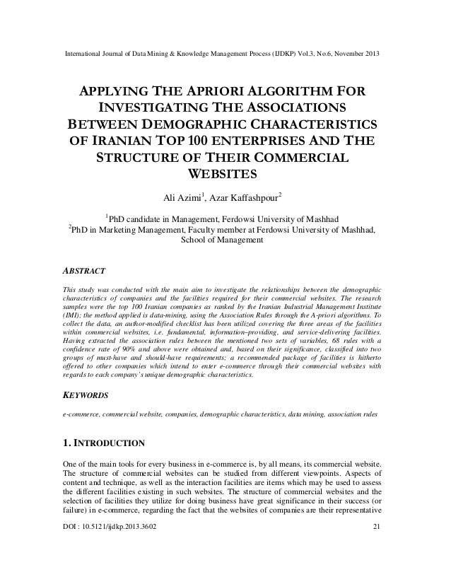 Applying the apriori algorithm for investigating the associations between demographic characteristics of iranian top 100 enterprises and the structure of their commercial websites