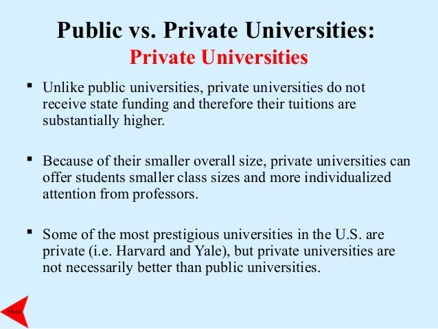 values of public and private universities 61 on the magazine's list of best values among private universities, which   1,200 public and private four-year schools, provided by peterson's.
