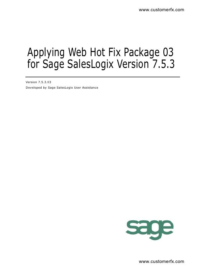 Applying Web Hot Fix 3 for SalesLogix 7.5.3