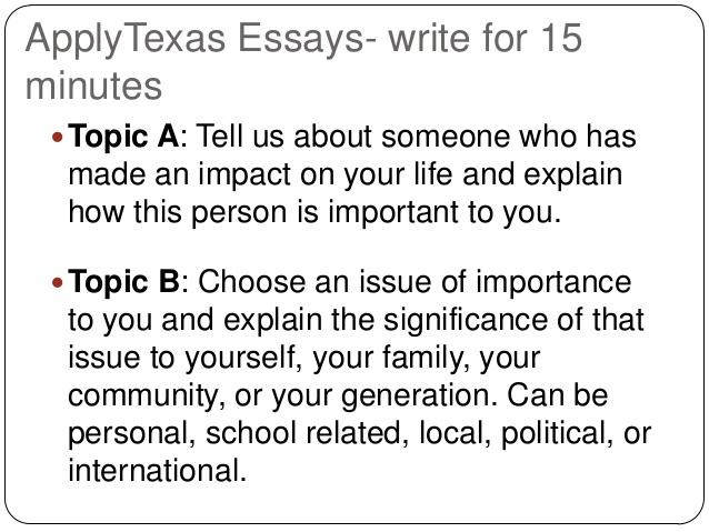 Essay C Apply Texas