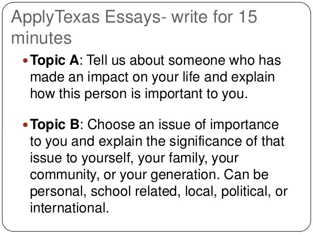 "texas application college essays It's back to school but for entering seniors, it's an even more (exciting) time as college applications are looming on the horizon there are two, primary ""common applications"" which your texas resident child should be concerned with – applytexas for most texas colleges and the common application for."