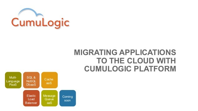 MIGRATING APPLICATIONS                                              TO THE CLOUD WITH                                     ...